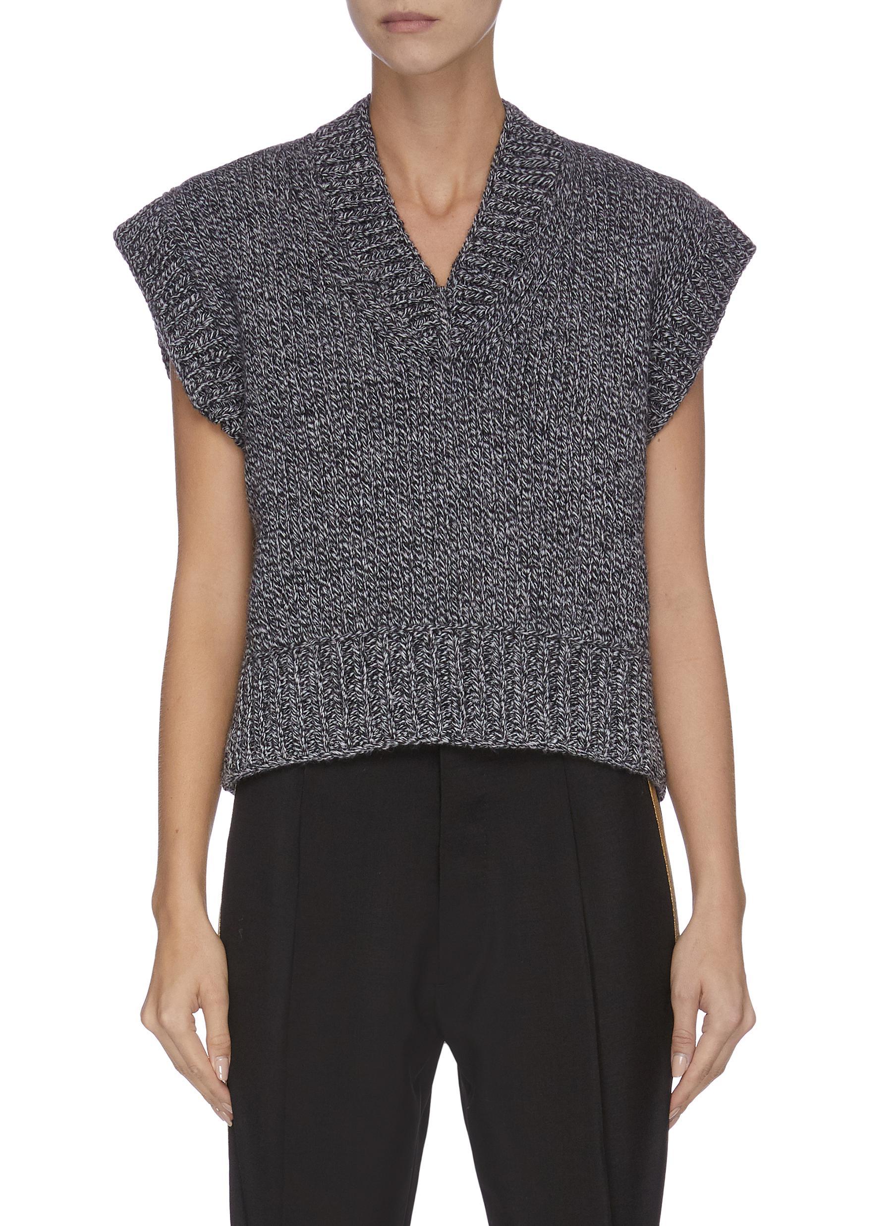 V neck peak shoulder marl knit vest by Maison Margiela