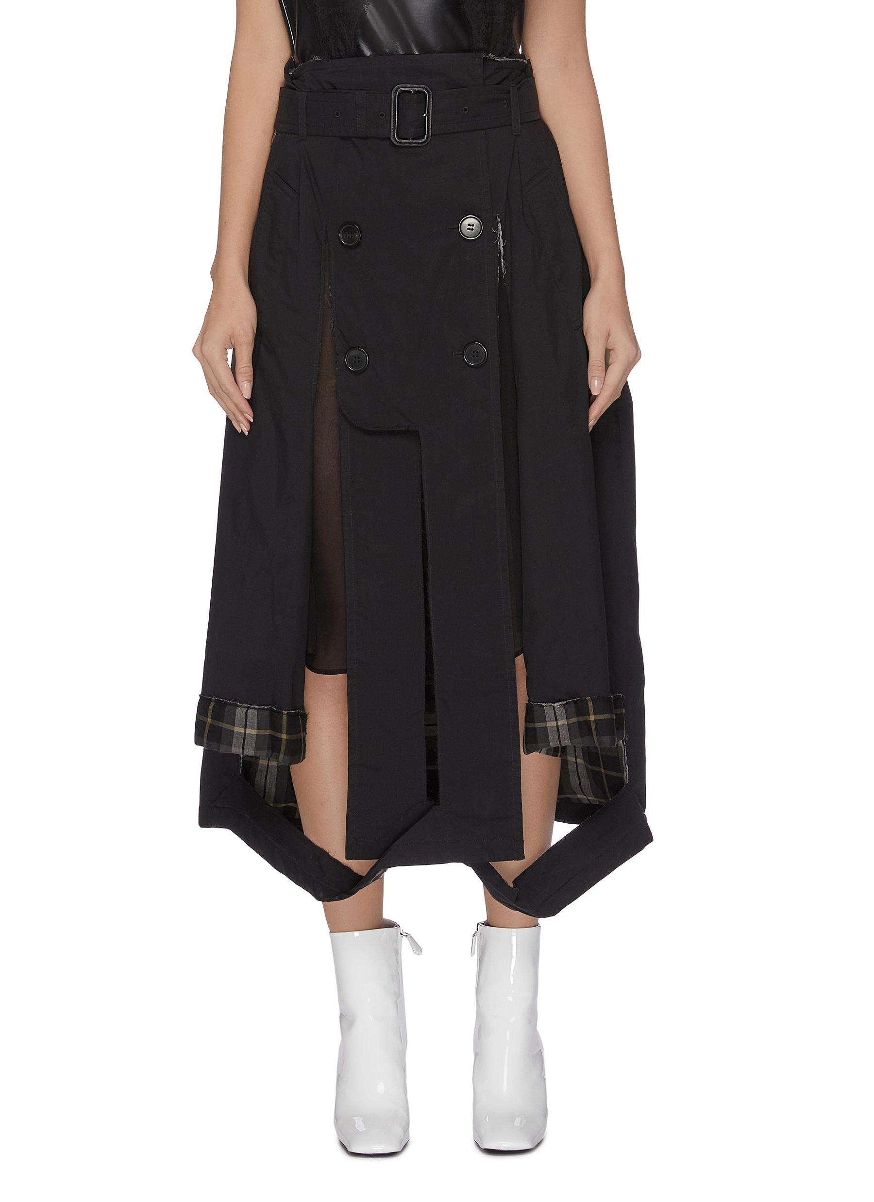 Front slit panelled trench skirt by Maison Margiela
