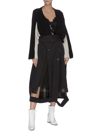 Figure View - Click To Enlarge - MAISON MARGIELA - Front slit panelled trench skirt