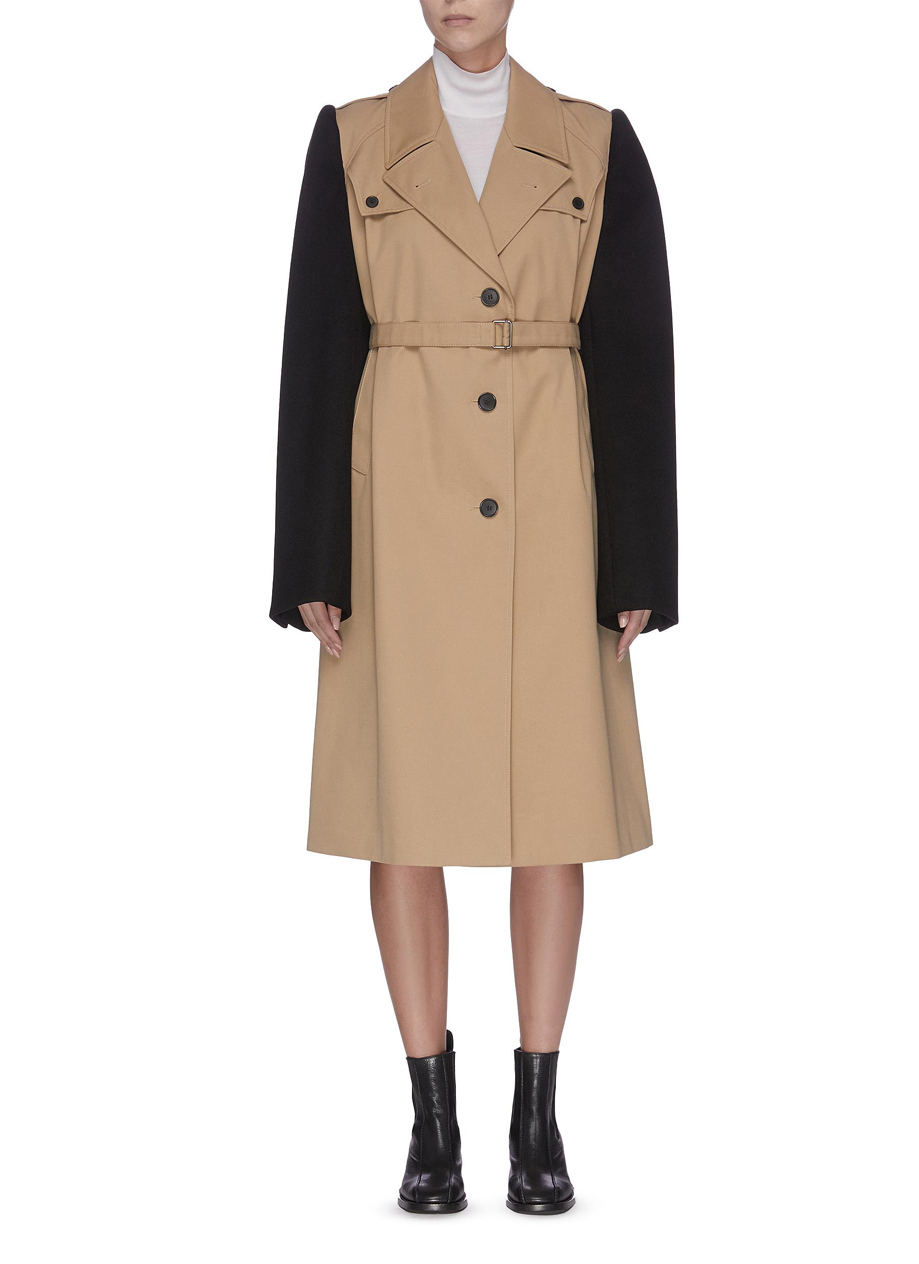 Contrast sleeve single-breasted trench coat by Maison Margiela