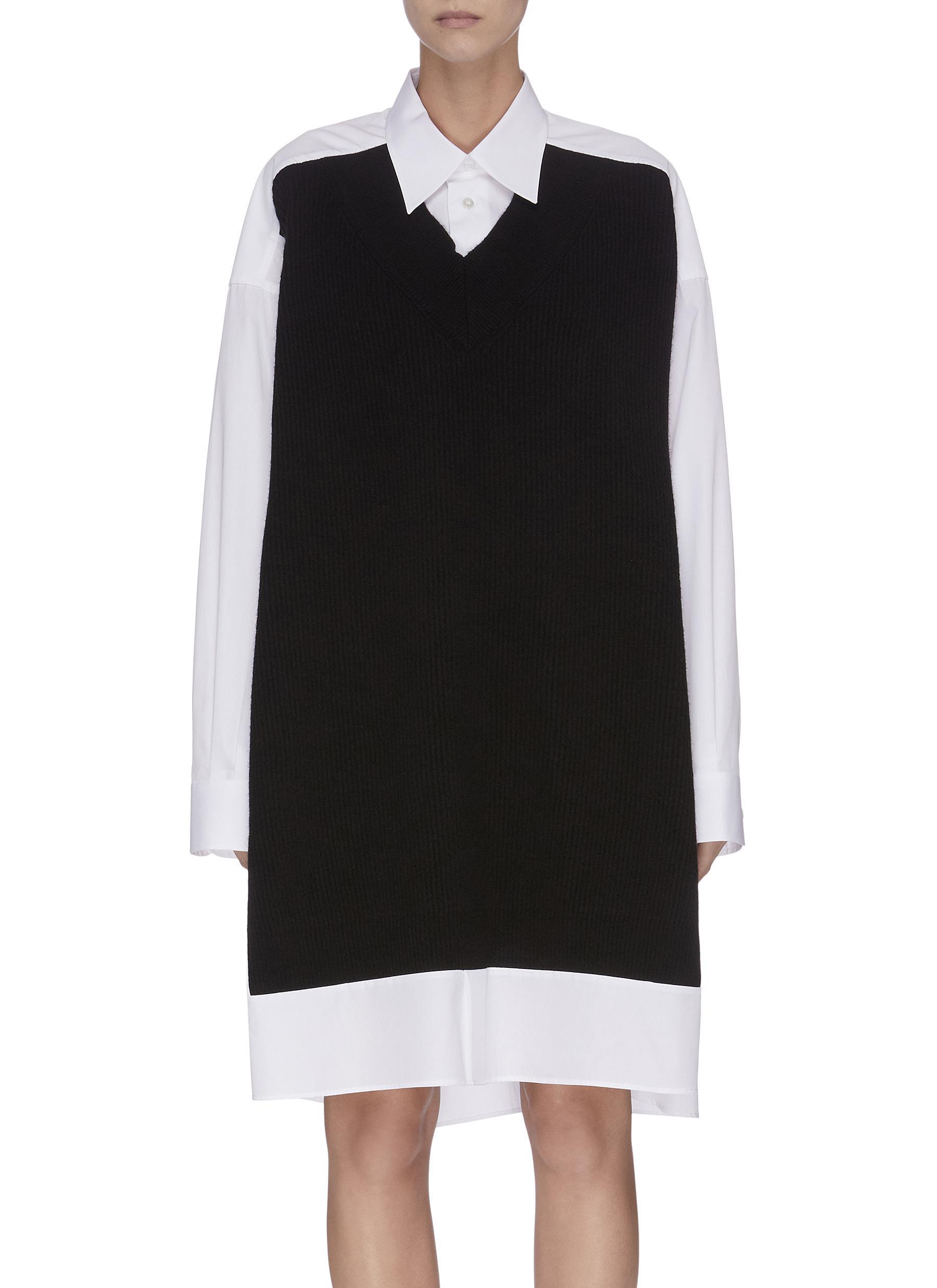Oversized rib knit panel shirt by Maison Margiela