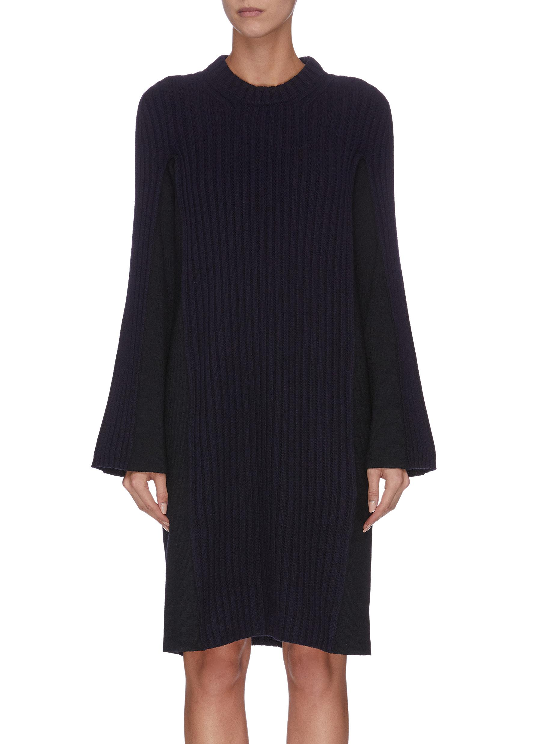 Flared sleeve panelled rib knit dress by Maison Margiela