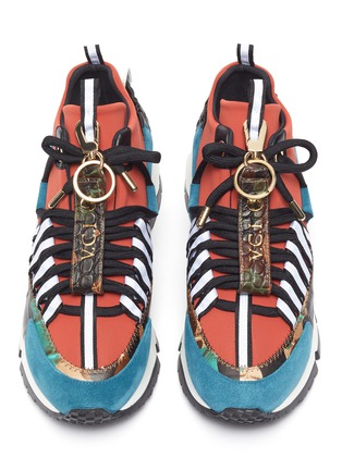 Detail View - Click To Enlarge - Pierre Hardy - x Victor Cruz 'VC1 1996' chunky outsole colourblock neoprene sneakers