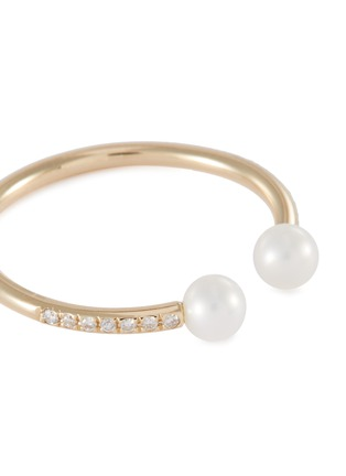 Detail View - Click To Enlarge - SYDNEY EVAN - Diamond pearl 14k yellow gold open ring