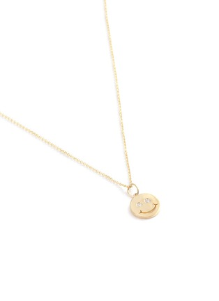 Detail View - Click To Enlarge - SYDNEY EVAN - 'Happy Face' diamond14k yellow gold pendant necklace
