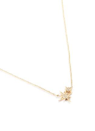Detail View - Click To Enlarge - SYDNEY EVAN - 'Double Starburst' diamond 14k yellow gold pendant necklace