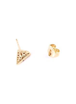Detail View - Click To Enlarge - SYDNEY EVAN - 'Pizza Slice' diamond ruby 14k yellow gold single stud earring