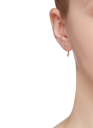 Figure View - Click To Enlarge - SYDNEY EVAN - 'Snake' diamond 14k yellow gold single climber earring