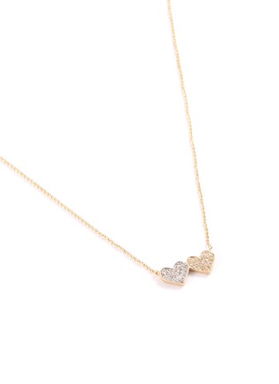 Detail View - Click To Enlarge - SYDNEY EVAN - 'Double Heart' medium diamond 14k gold pendant necklace