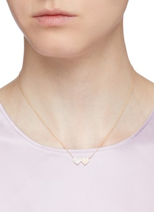 Figure View - Click To Enlarge - SYDNEY EVAN - 'Double Heart' medium diamond 14k gold pendant necklace