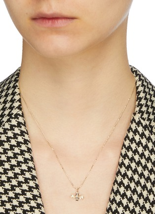 Figure View - Click To Enlarge - SYDNEY EVAN - Diamond 14k gold small bumblebee pendant necklace