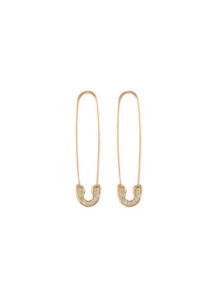 Main View - Click To Enlarge - SYDNEY EVAN - 'Safety Pin' diamond 14k yellow gold drop earrings