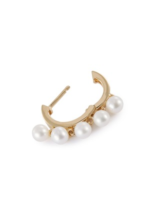 Detail View - Click To Enlarge - SYDNEY EVAN - Pearl fringe drop 14k yellow gold hoop earrings