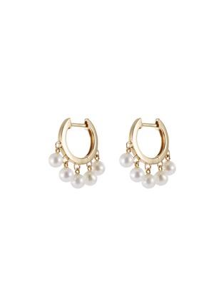 Main View - Click To Enlarge - SYDNEY EVAN - Pearl fringe drop 14k yellow gold hoop earrings