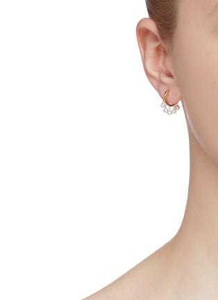 Figure View - Click To Enlarge - SYDNEY EVAN - Pearl fringe drop 14k yellow gold hoop earrings