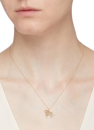 Figure View - Click To Enlarge - SYDNEY EVAN - Unicorn 14k gold pendant necklace