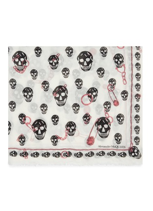 Detail View - Click To Enlarge - ALEXANDER MCQUEEN - Pinned Multiskull modal-wool scarf