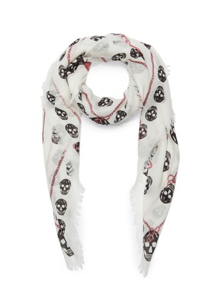Main View - Click To Enlarge - ALEXANDER MCQUEEN - Pinned Multiskull modal-wool scarf