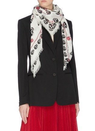 Figure View - Click To Enlarge - ALEXANDER MCQUEEN - Pinned Multiskull modal-wool scarf