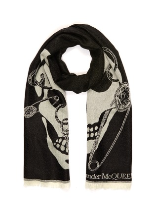 Main View - Click To Enlarge - ALEXANDER MCQUEEN - Chained Skull wool scarf