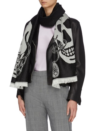 Figure View - Click To Enlarge - ALEXANDER MCQUEEN - Chained Skull wool scarf