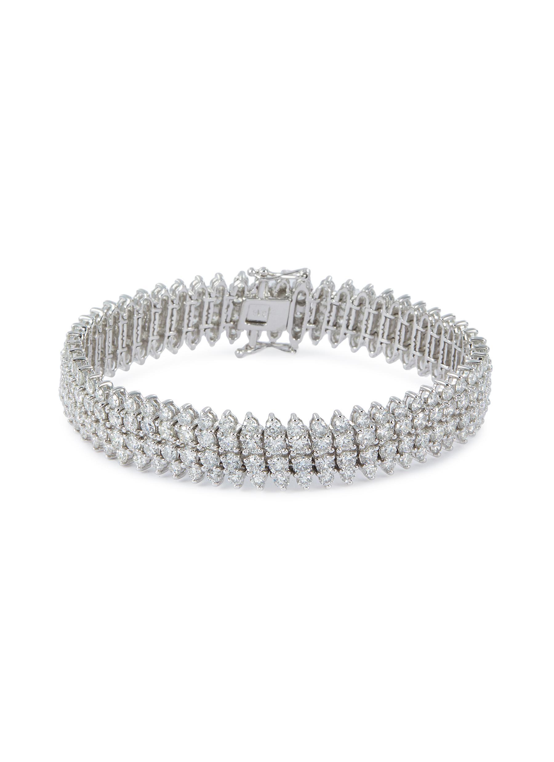 Diamond 18k white gold link bracelet