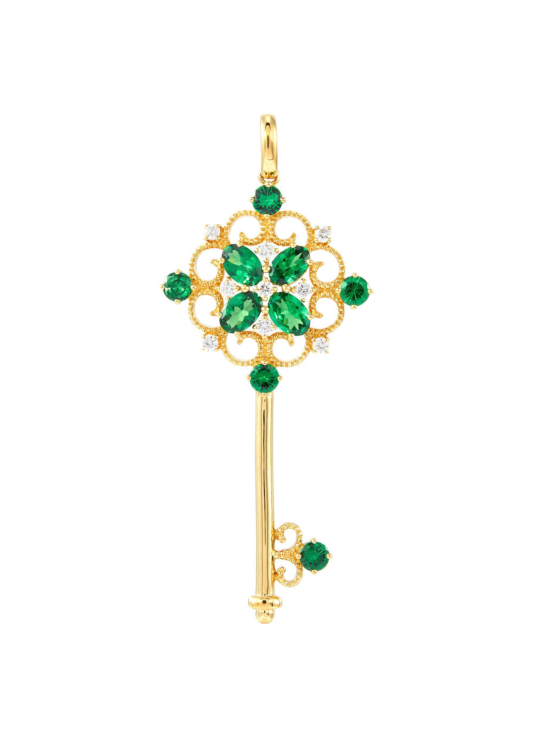 Diamond garnet 18k yellow gold openwork key pendant