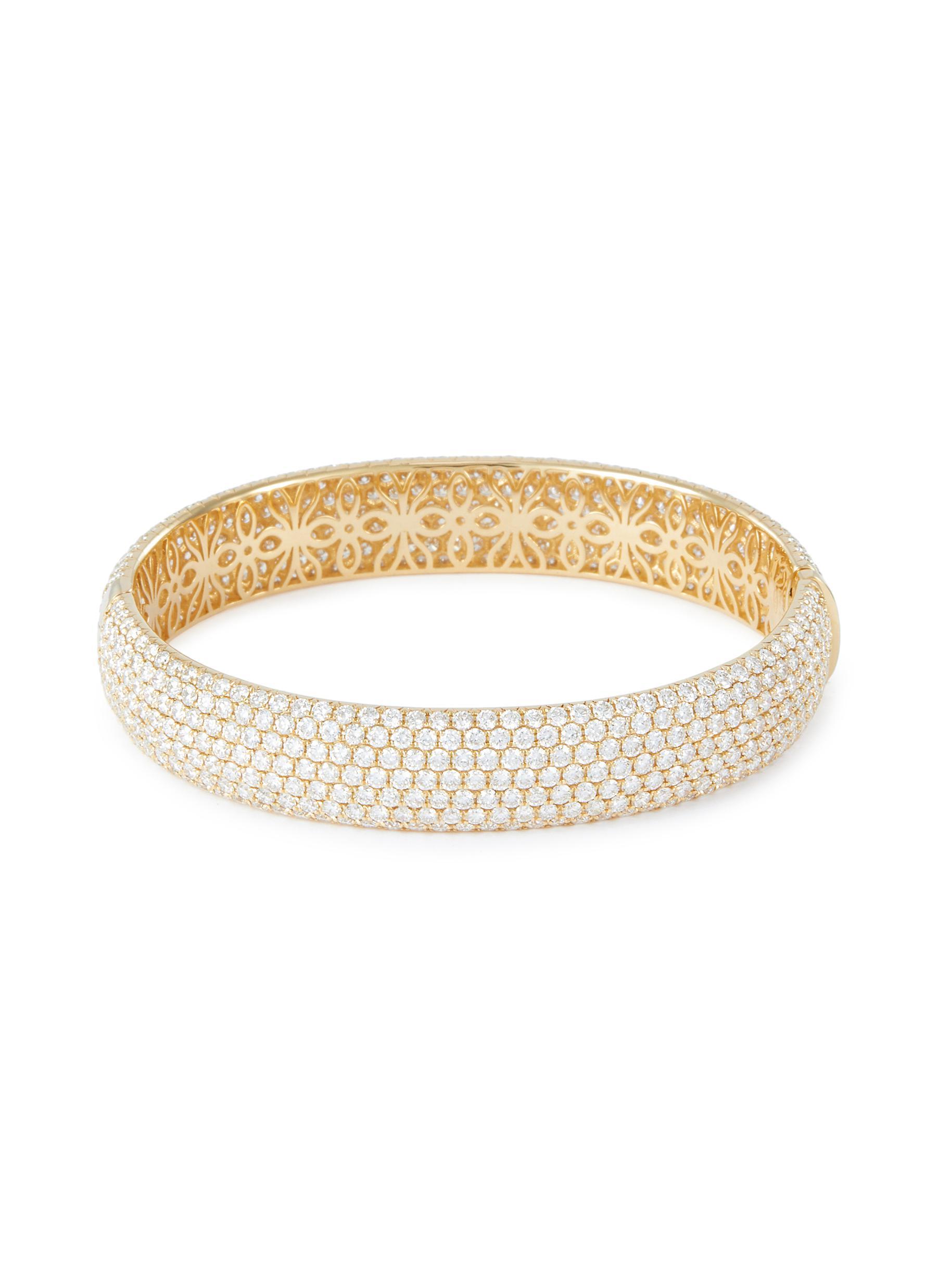 Diamond 18k yellow gold bangle