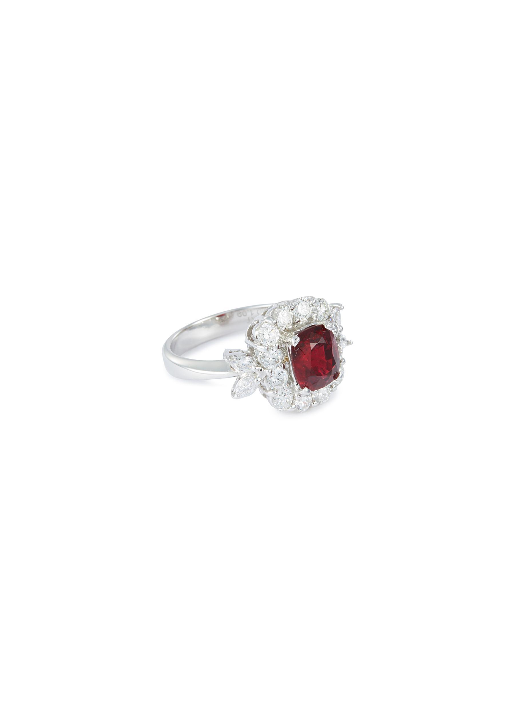 Diamond spinel 18k white gold ring