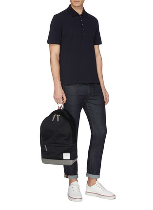 Figure View - Click To Enlarge - THOM BROWNE - Stripe back polo shirt