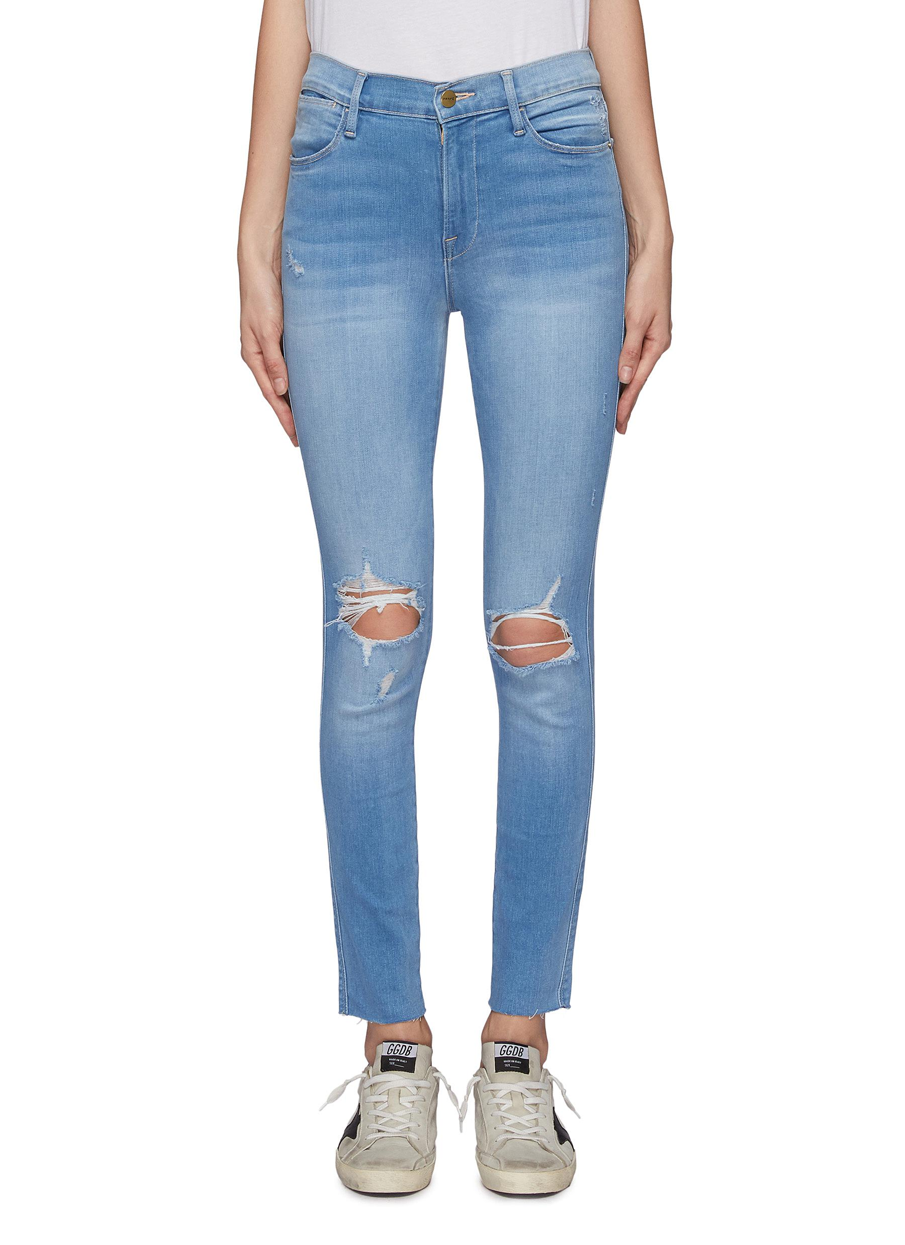 435d3e6f343 FRAME DENIM | 'Le High Skinny' cropped ripped knee jeans | Women ...