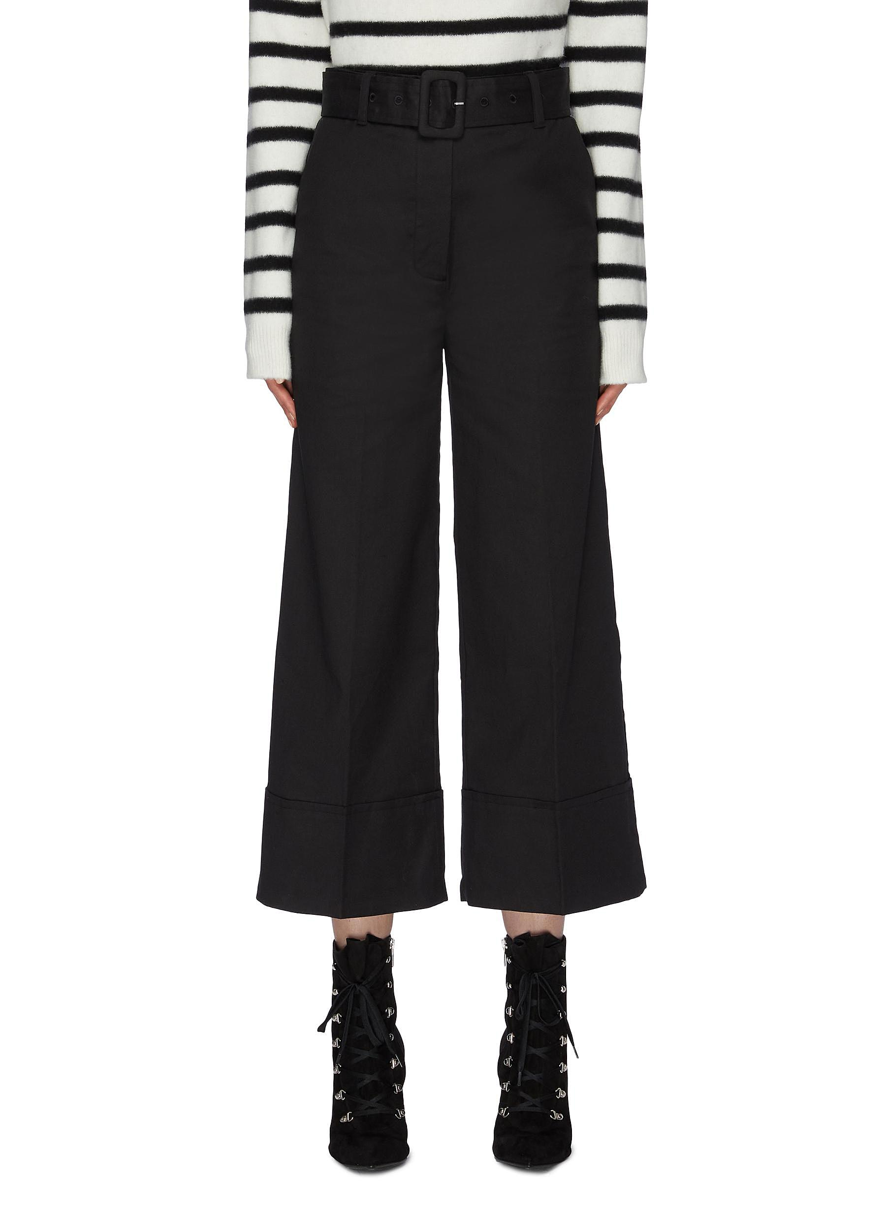 Belted rolled cuff denim wide leg pants by Frame Denim