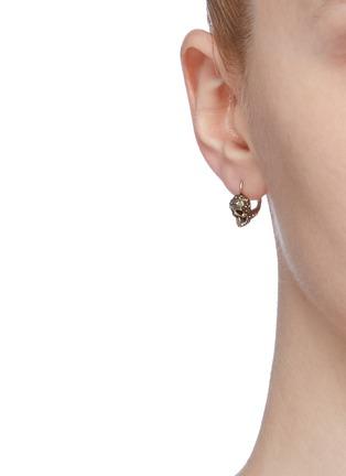 Figure View - Click To Enlarge - ALEXANDER MCQUEEN - Swarovski crystal skull drop earrings