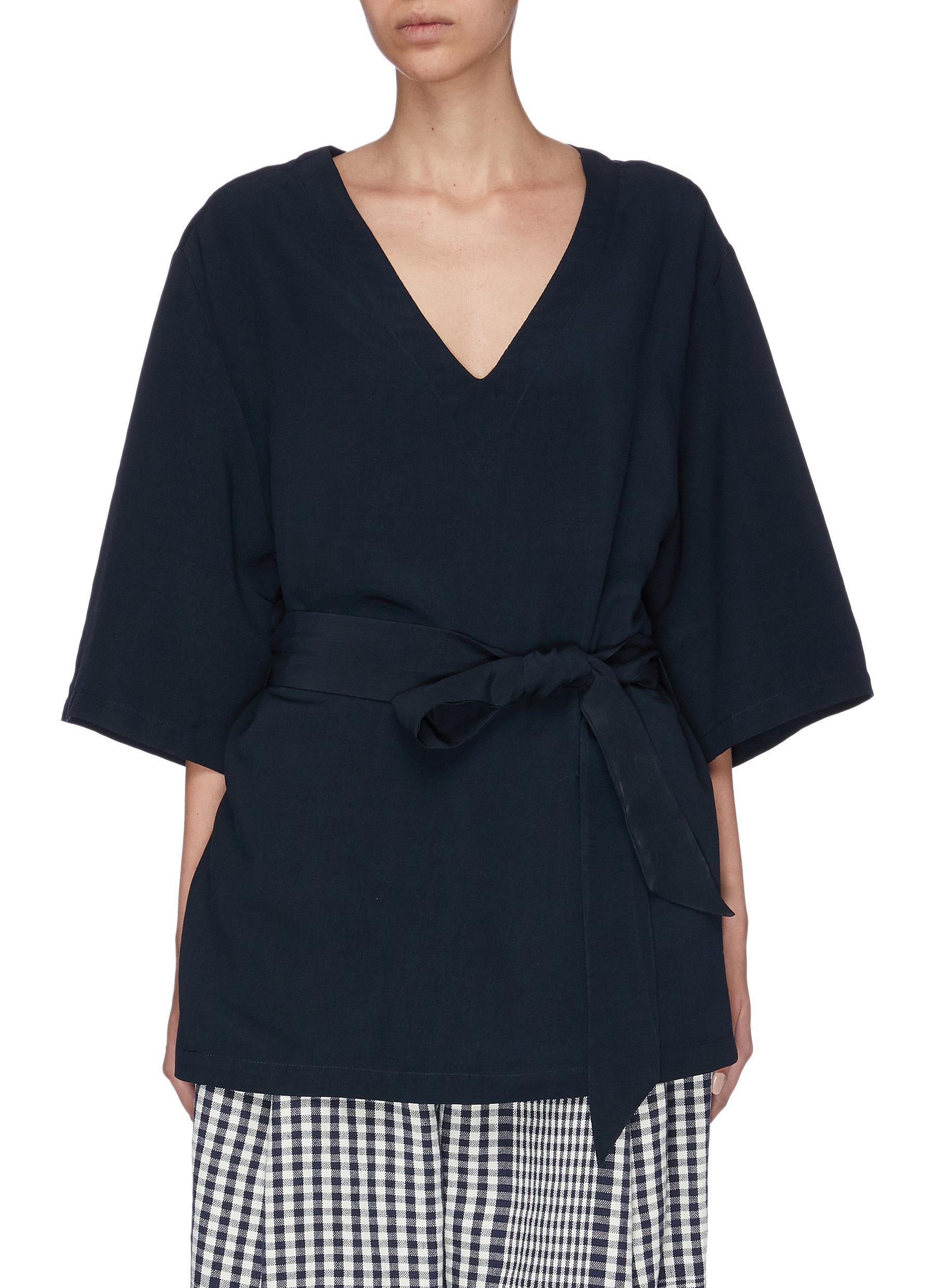 Leonetta sash tie waist V-neck top by Barena