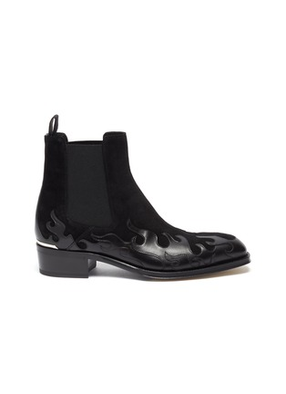 Main View - Click To Enlarge - ALEXANDER MCQUEEN - 'Flame' patchwork leather and suede Chelsea boots