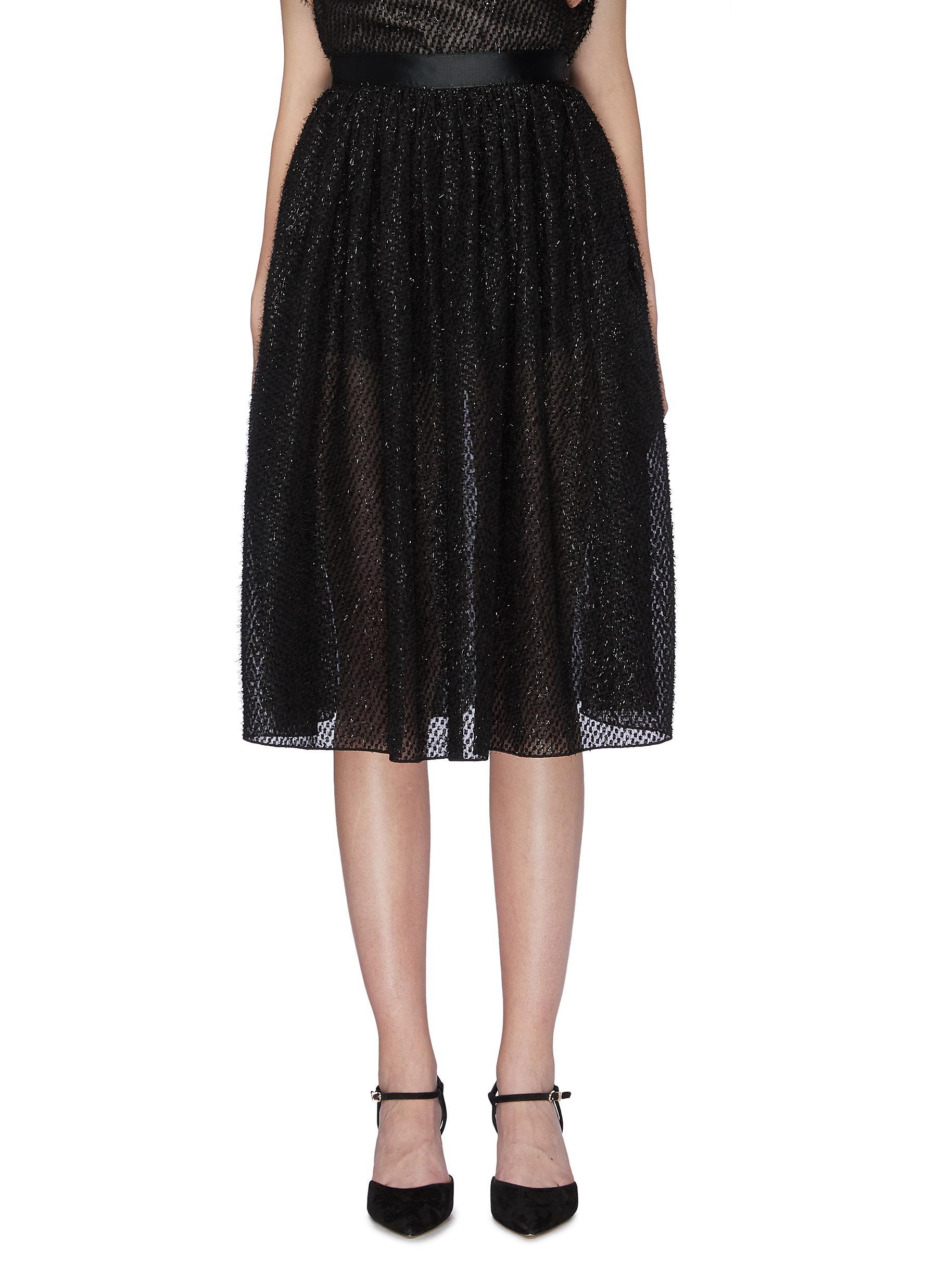 Metallic fil coupé skirt by Jonathan Liang