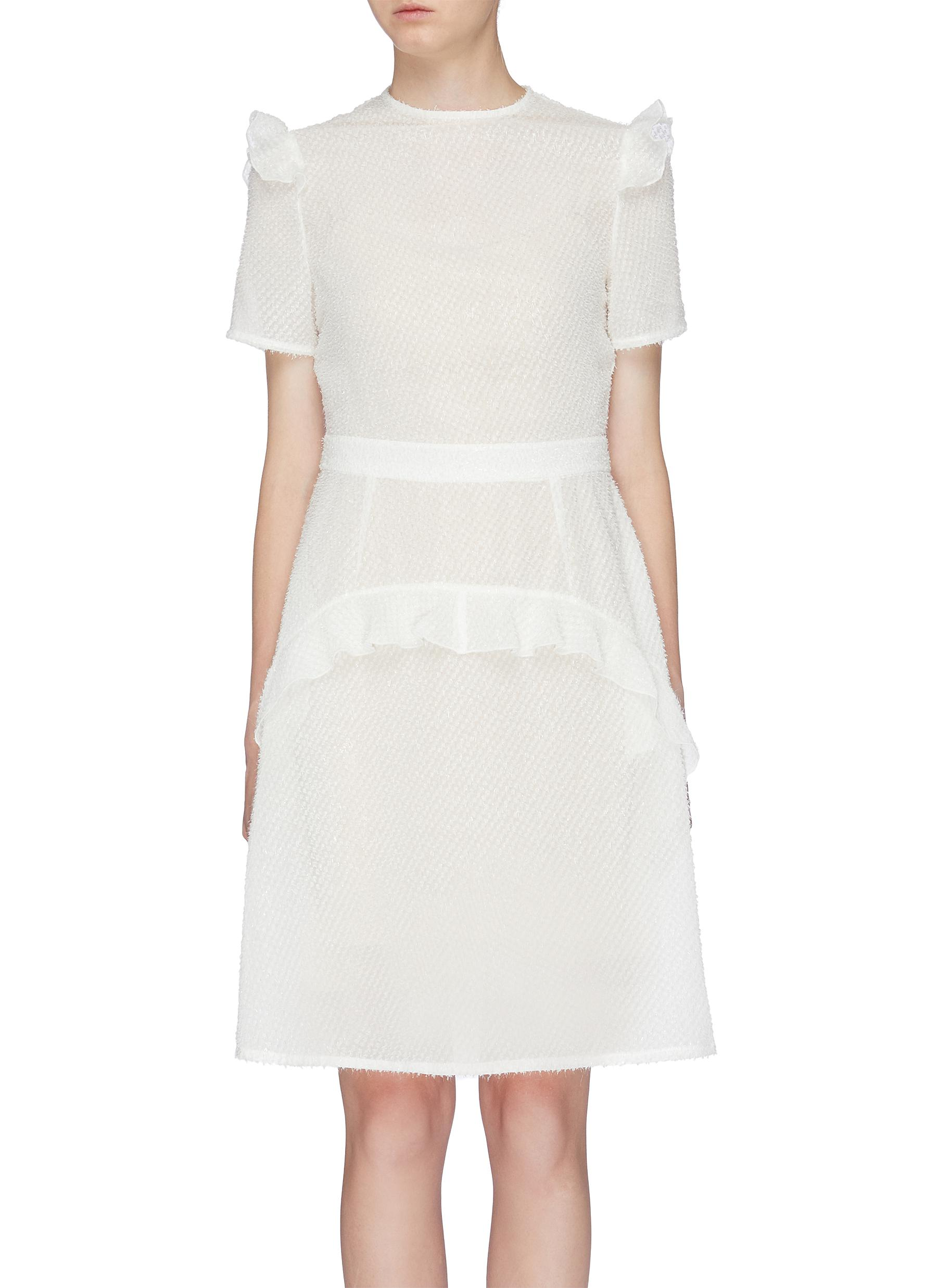 Ruffle tiered textured dress by Jonathan Liang
