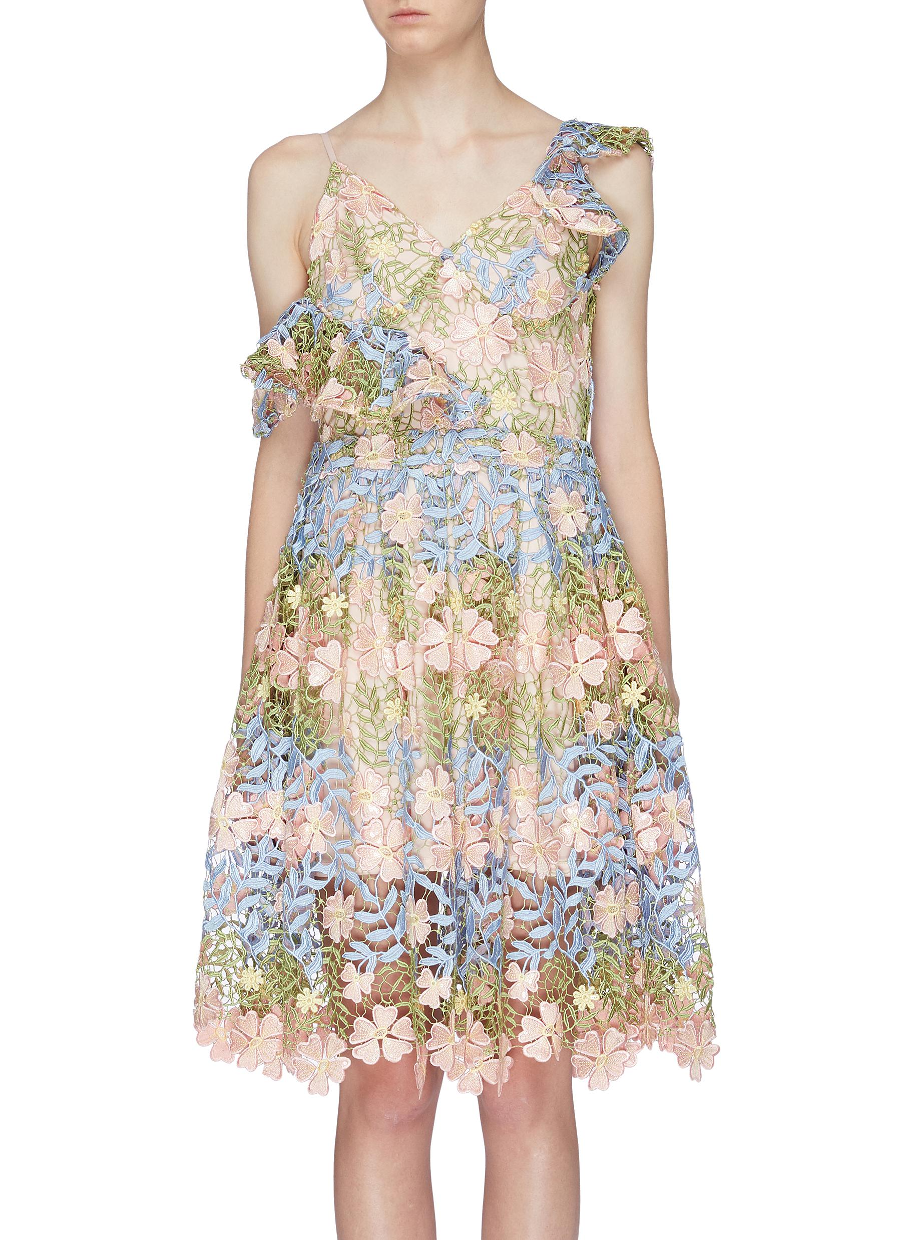 Asymmetric cold shoulder floral embroidered dress by Jonathan Liang