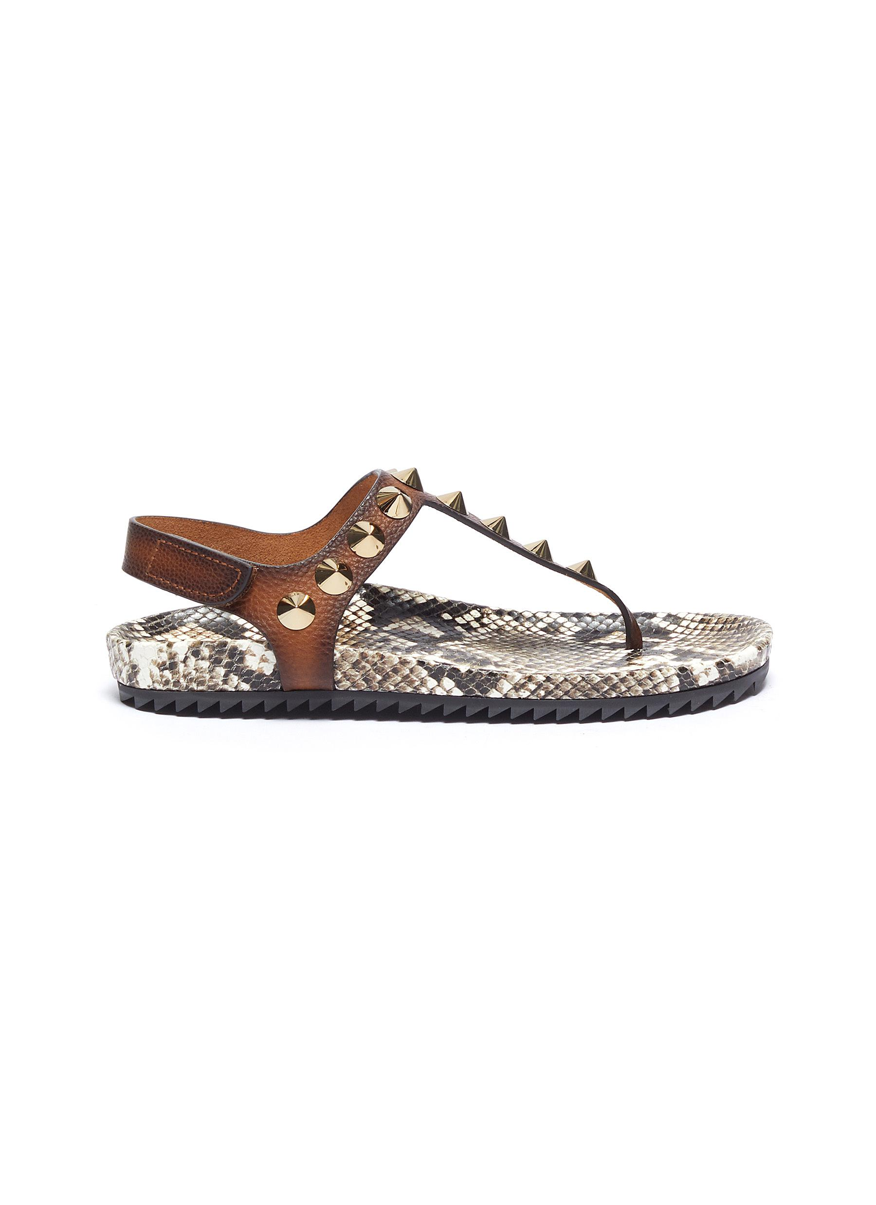 Athena cone stud leather thong sandals by Pedro García