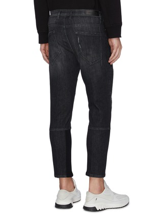 Back View - Click To Enlarge - NEIL BARRETT - Ribbed panel washed skinny jeans