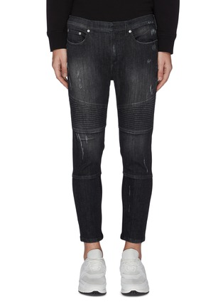 Main View - Click To Enlarge - NEIL BARRETT - Ribbed panel washed skinny jeans