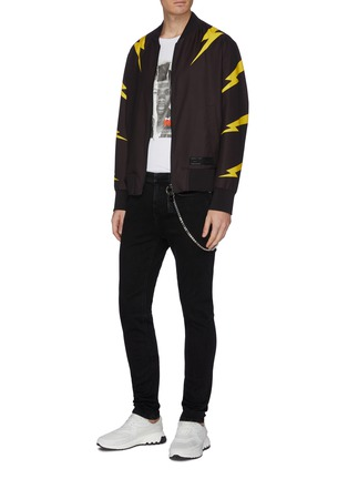 Figure View - Click To Enlarge - NEIL BARRETT - Chain washed skinny jeans