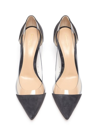 Detail View - Click To Enlarge - GIANVITO ROSSI - 'Plexi' PVC and suede pumps
