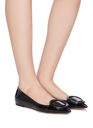 Figure View - Click To Enlarge - GIANVITO ROSSI - Buckle skimmer flats