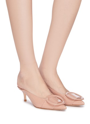 Figure View - Click To Enlarge - GIANVITO ROSSI - Buckle patent leather mules