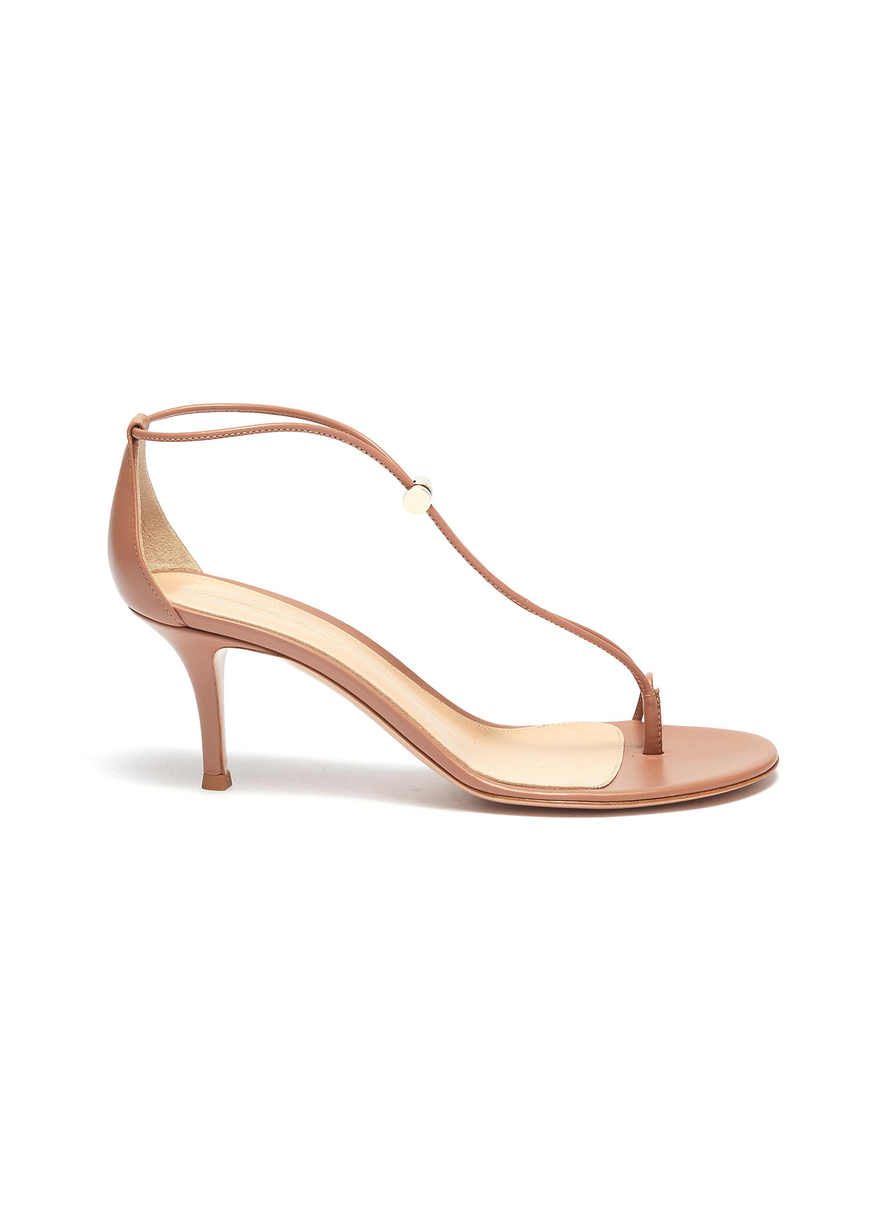 Toe ring toggle leather strap sandals by Gianvito Rossi