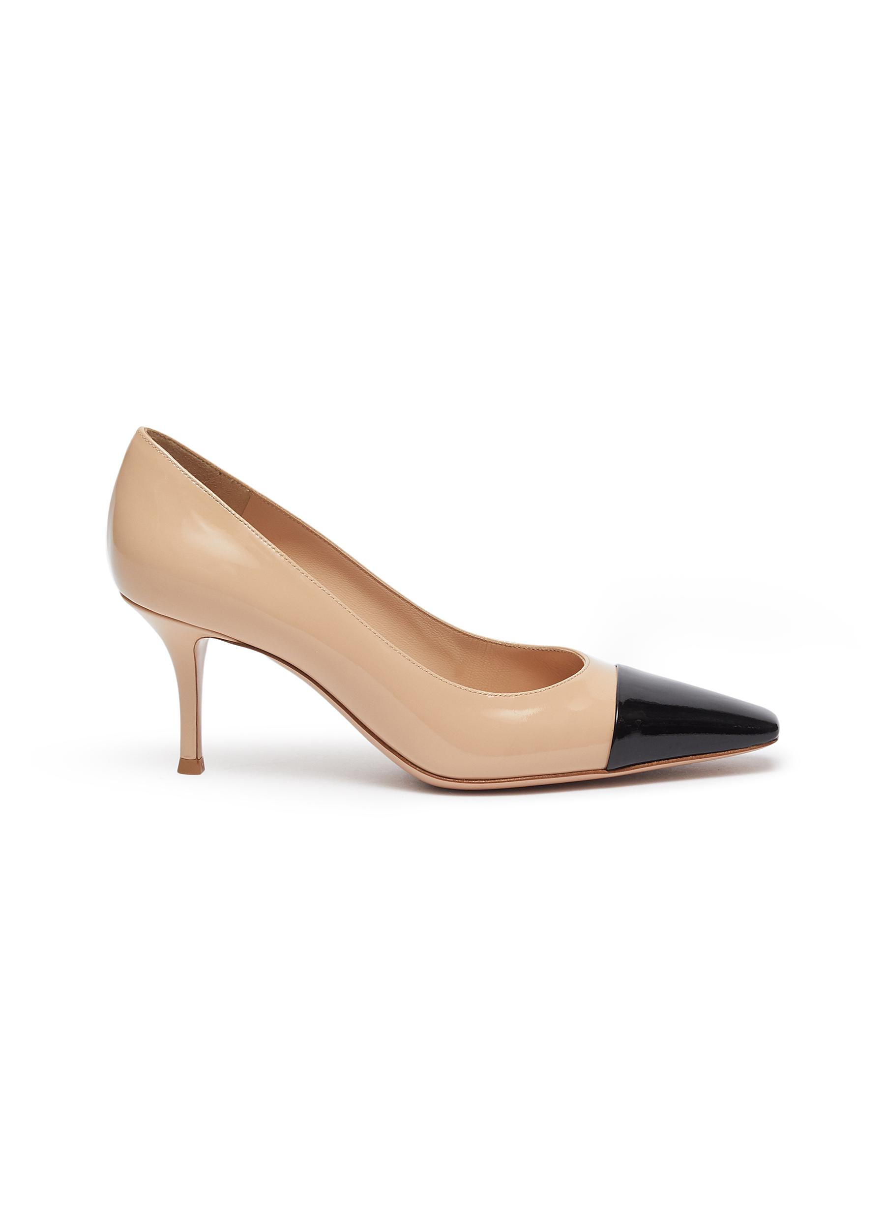 Lucy contrast toecap patent leather pumps by Gianvito Rossi