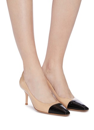 Figure View - Click To Enlarge - GIANVITO ROSSI - 'Lucy' contrast toecap patent leather pumps