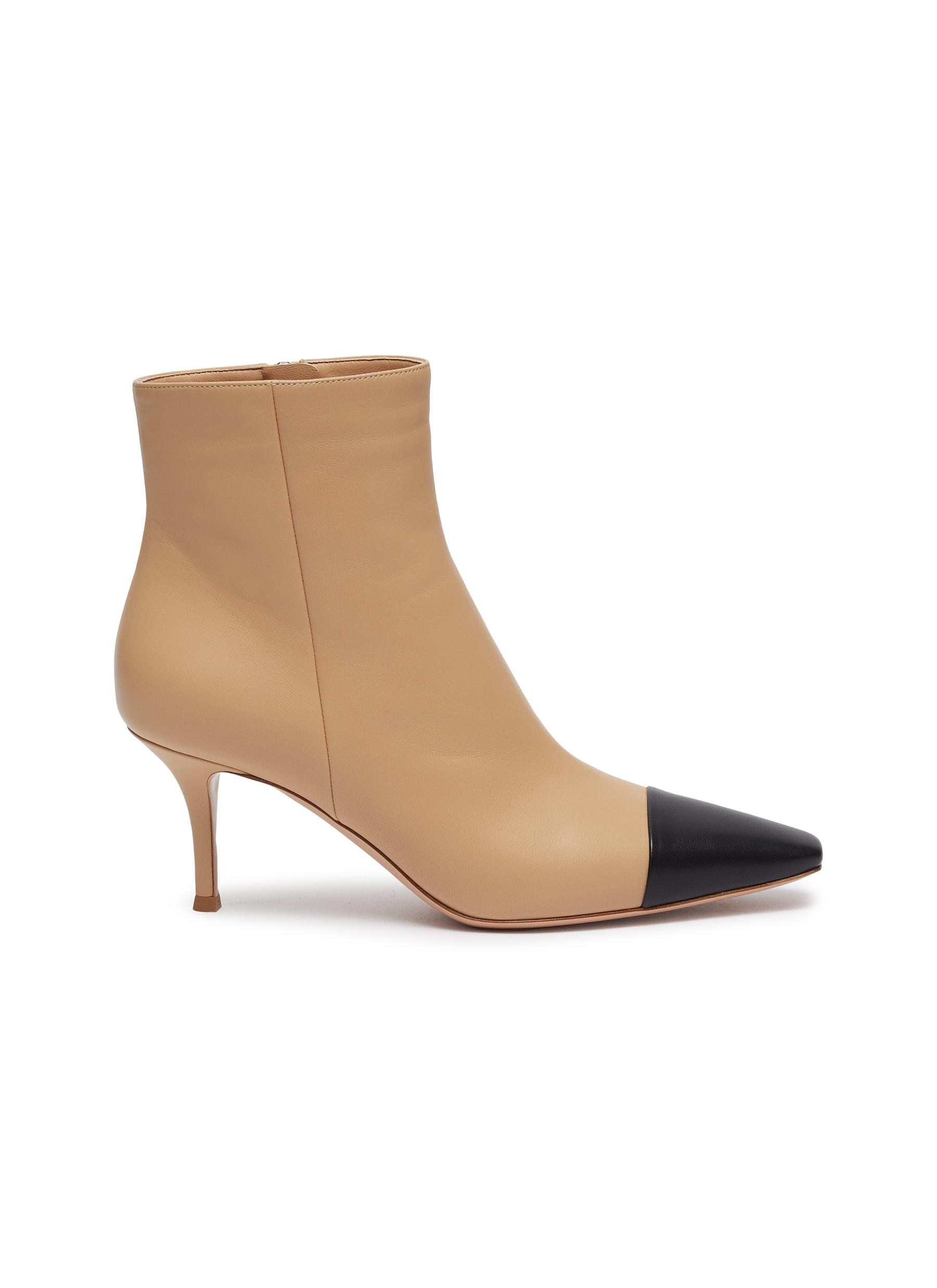 Lucy contrast toecap leather ankle boots by Gianvito Rossi