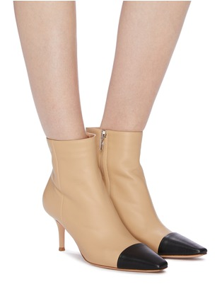 Figure View - Click To Enlarge - GIANVITO ROSSI - 'Lucy' contrast toecap leather ankle boots